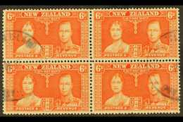 """1937 6d Red-orange Coronation Of New Zealand, A Fine Used Block Of Four Showing Two Part """"PITCAIRN ISLAND"""" Cds Cancels O - Stamps"""