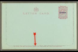 "1914 LETTER CARD 1d Dull Claret On Blue, Inscription 94mm, H&G 1a, Unused, Broken Second ""T"" In ""LETTER CARD,"" Clean & F - Samoa"