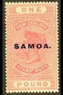 "1925-28 £1 Rose Pink ""Postal Fiscal"" Overprinted ""SAMOA"" In Blue, SG 166d, Fine Mint For More Images, Please Visit Http: - Samoa"