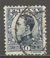 ESPAGNE - Yv. N° 410  (o)  40c  Bleu Foncé, Type II  Alphonse XIII Cote 1,5 Euro BE   2 Scans - 1889-1931 Kingdom: Alphonse XIII