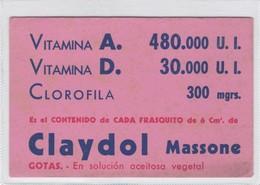 CLAYDOL MASSONE, VITAMINA A VITAMINA D CLOROFILA. PAPEL SECANTE. CIRCA 1930s- BLEUP - Produits Pharmaceutiques