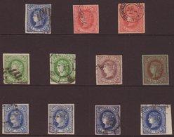 1864 VERY FINE USED RANGE On A Stockcard. We See A  Choice 4 Margin Set, (Edifil 63/68, Mi 55/60) Including Extra Shaded - Spain