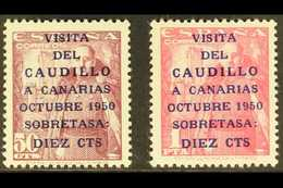 """1951 General Franco's Canary Island Visit Overprints With """"Caudillo"""" 16½mm Long (SG 1149A/50A, Michel 985/86, Edifil 108 - Spain"""