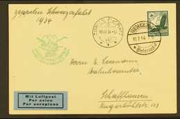 """1934 Zeppelin Switzerland Flight Card, Franked 50pf """"Eagle"""" Tied By Friedrichshafen Cds With Zurich Arrival And Green Ze - Switzerland"""