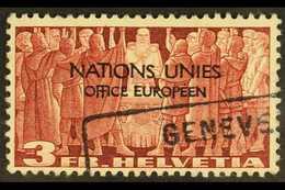 INTERNATIONAL ORGANIZATIONS UNITED NATIONS 1950 3f Red-brown Overprint (Michel 18, SG LU18), Very Fine Used, Fresh. For  - Switzerland