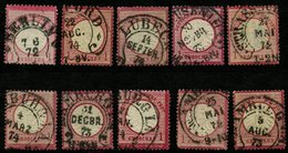 HUFEISEN-STEMPEL AUS 1872/74, 10 VERSCHIEDENE STEMPEL AUF 1 Gr. ROT, CV Ca 200,- - Oblitérés