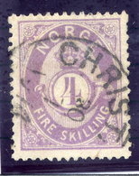 NORWAY 1875 Posthorn 4 Sk.  Violet Used. Michel 19d - Norway