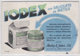 IODEX CON SALICILATO DE METILO, MENLEY & JAMES LTD. PAPEL SECANTE. CIRCA 1930s- BLEUP - Produits Pharmaceutiques