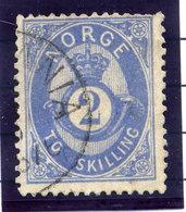 NORWAY 1875 Posthorn 2 Sk.  Blue Used. Michel 17a - Norway
