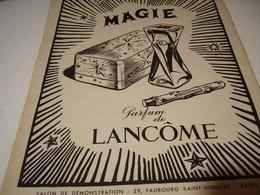 ANCIENNE PUBLICITE PARFUM MAGIE DE LANCOME PARIS 1951 - Other