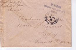 Cachet  10 Region Hopital Auxiliaire N° 2 Rennes - Marcophilie (Lettres)