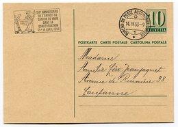 RC 10412 SUISSE 1953 ENTIER POSTAL POSTE AUTOMOBILE + FLAMME ENTRÉE DU CANTON DE VAUD DANS LA CONFÉDÉRATION TB - Postmark Collection