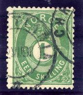NORWAY 1875 Posthorn 1 Sk. Green Used. Michel 16c - Norway
