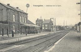 TRAZEGNIES : Intérieur De La Gare - TRES RARE CPA - Cachet De La Poste 1921 - Courcelles