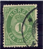 NORWAY 1875 Posthorn 1 Sk. Blue-green Used. Michel 16b - Norway