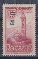 ANDORRE FRANCAIS 1935:  Le 20c Sur 50c Lie-de-vin, Neuf**  TTB - Andorre Français