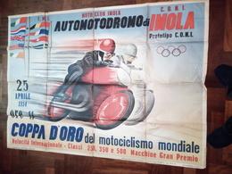 IMOLA AUTO MOTO DROMO 1954 MANIFESTO C.O.N.I.  COPPA D'ORO - Afiches