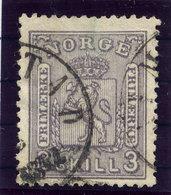 NORWAY 1868 Arms 3 Sk. Grey-violet Used. Michel 13a - Norway