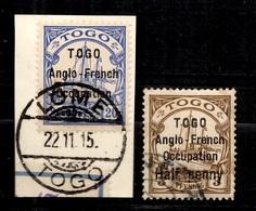 Togo Allemand Occupation Anglaise Maury N° 4 Type I  Et N° 14 Type II Oblitérés. Signés. B/TB. A Saisir! - Colony: Togo