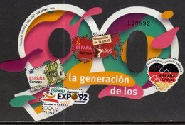 SPAIN, 2018, MNH, THE 90s, EURO, GERMAN REUNIFICATION, DISSOLUTION OF THE USSR, NUMBER -SHAPED SHEETLET - Other