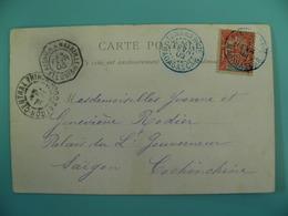 Af100-N° 43/cpa Tananarive Pour Saïgon,Obl Bleue+Paquebot Réunion/Marseille  Voir Cp & Remarque - Madagascar (1889-1960)