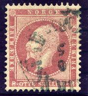 NORWAY 1856 King Oskar 8 Sk. Used.  Michel 5 - Norway