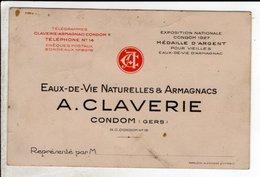 Carte De Visite Eaux De Vie Armagnacs Claverie Condom - Cartoncini Da Visita