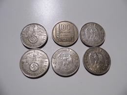 LOT DE SIX PIÈCES EN ARGENT (5 ALLEMANDES + 1 ALGÉRIE 1950) - Deutsches Reich