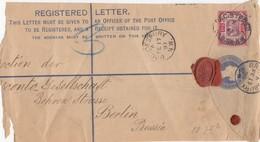 DEVANT DE LETTRE. GRANDE BRETAGNE. REGISTERED LETTER. N° 102 10p. BRONDESBURY POUR BERLIN. 2 CACHETS CIRE DONT PS - 1840-1901 (Victoria)