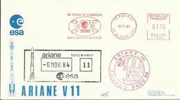 ESPACE - Lancement Fusée ARIANE V11 - 09/11/1984 - Enveloppe Club Philatélique ESA - CENTRE SPATIAL GUYANAIS - KOUROU - FDC & Commemoratives
