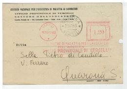 Cartolina Vercelli - INAM Sede Provinciale - Settore Dell'industria - 1945 - Vercelli