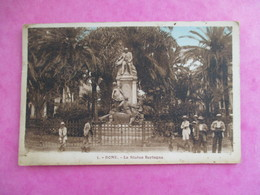 CPA ALGERIE BONE LA STATUE BERTAGNA ANIMEE - Annaba (Bône)