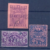 Colombia  3 Old Stamps Retardo Fine Used - Colombie