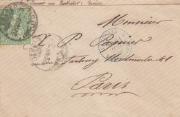 LETTRE. SUISSE. 30 JUIL 80. GENEVE POUR PARIS. ENTREE SUISSE BELLEGARDE - 1862-1881 Sitted Helvetia (perforates)