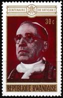 Timbre-poste Gommé Neuf** - Pape Pie XII Centenaire De Vatican I - N° 402 (Yvert) - République Rwandaise 1970 - Rwanda