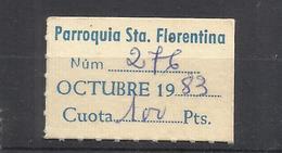 Q337A-CUOTA PARROQUIA SANTA FLORENTINA CARTAGENA MURCIA 1983 VIÑETA RELIGION,AL DISPONER DE MAS EJEMPLARES ENVIO SIEMPRE - Revenue Stamps