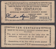 Philippines 10 Centavos 1943 (VF) Condition Banknote KM #S502 - Filipinas