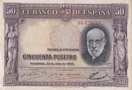 Billet De 50 Pesetas De L'Espagne - [ 2] 1931-1936 : République