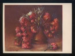 *Antonia Ferreras - Claveles* Ed. Artigas. Pintores Esp. Contemporáneos Col. A Serie 1004. Nueva. - Pintura & Cuadros
