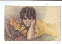 Ilustrateur T Corbella  Femme Roses Jaunes  Neuve  Très Léger Pli Visible Seulement A Verso Dell'anna Milano Italie - Corbella, T.
