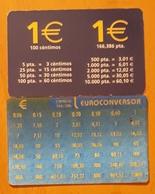 2002. 2 CALENDARIOS CONVERSORES EUROS - PESETAS. - Tamaño Pequeño : 2001-...