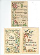 Lot 3 Cartes Avec Poesie Et Enluminures 2 TBE Une Avec Petit Défaut  Textes V Hugo, St Vincent De Paul, Pie XII Envoi 0, - Postcards