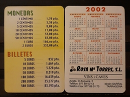 2002. CALENDARIO CONVERSORES EUROS - PESETAS. VINOS Y CAVAS - Calendarios