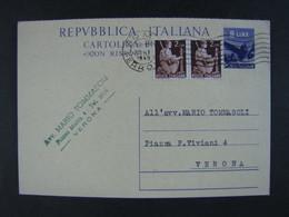 """ITALIA Interi-1946- """"Democratica"""" £. 8  US° (descrizione) - Interi Postali"""