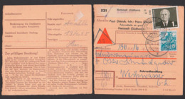Hettstedt (Südharz) Nachnahme Selbstabholer Paketschein 11.11.55, 1,80 Porto, Dabei 80 Pf Mi. 378 N. Weißwasser Fahrrad - [6] República Democrática