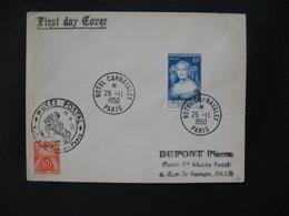 FDC  1950  N° 874 Madame De Sévigné Avec  Timbre Taxe  à Voir - 1950-1959