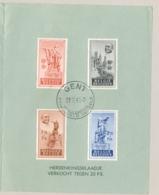 België - 1948 - 4 Zegels Edouard Anseele In Herdenkingsblad - Lettres & Documents