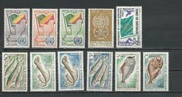 CONGO  Scott 93-95, 96-101, B3, 105 Yvert 139-141, 142-147, 148, 152 (11) ** Cote 9,00 $ 1961-2 - Congo - Brazzaville