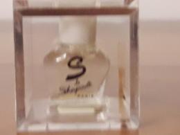 **S** De SCHIAPARELLI Rare Parfum 1ml Boîte Plexi De3cm D'arête Bch Blanc - Miniatures Anciennes (jusque 1960)