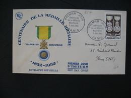 FDC  1952    N° 927  Centenaire De La Médaille Militaire    à Voir - FDC